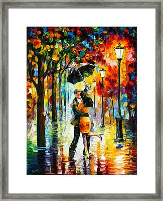 Dance Under The Rain Framed Print by Leonid Afremov
