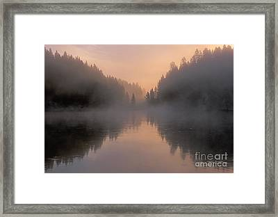 Dawn On The Yellowstone River Framed Print by Sandra Bronstein