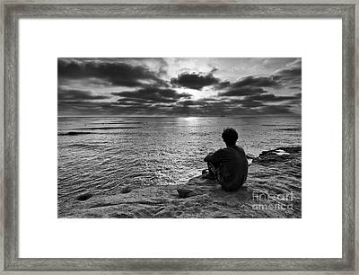 Day's End - Enjoying The Views Of Sunset Cliffs. Framed Print by Jamie Pham