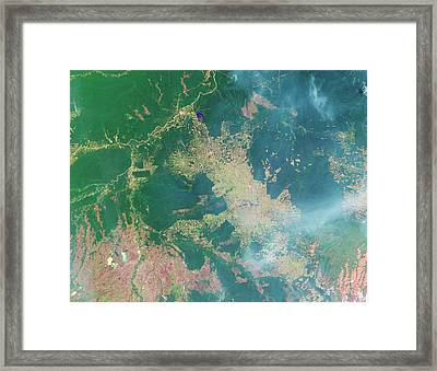 Deforestation In The Amazon Framed Print by Nasa Earth Observatory
