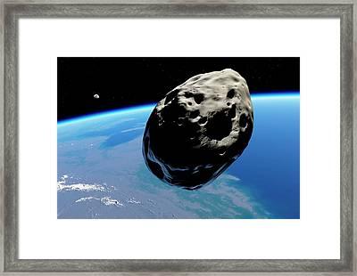 Dinosaur Extinction Asteroid Framed Print by Detlev Van Ravenswaay