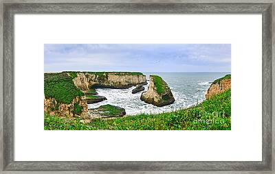 Dramatic Panoramic View Of Shark Fin Cove Framed Print by Jamie Pham