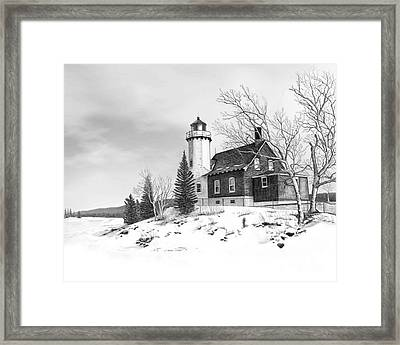 Eagle Harbor Lighthouse Framed Print by Darren Kopecky