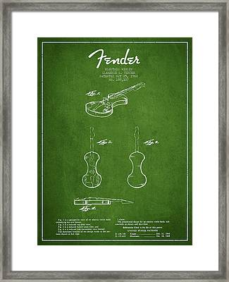 Electric Violin Patent Drawing From 1960 Framed Print by Aged Pixel