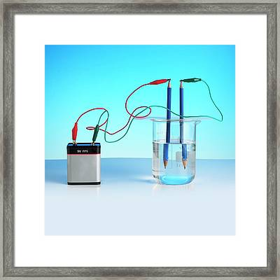 Electrolysis Of Water Framed Print by Science Photo Library