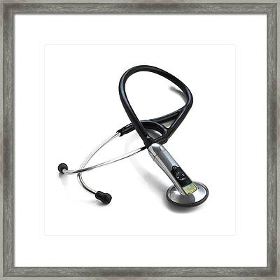 Electronic Stethoscope Framed Print by Science Photo Library