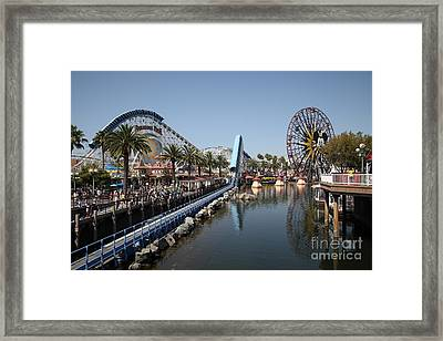 Ferris Wheel And Roller Coaster - Paradise Pier - Disney California Adventure - Anaheim California - Framed Print by Wingsdomain Art and Photography