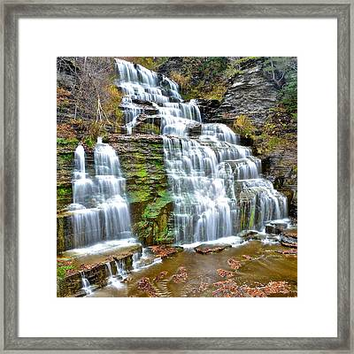 Finger Lakes Waterfall Framed Print by Frozen in Time Fine Art Photography