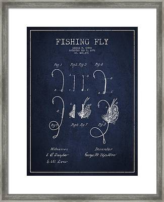 Fishing Fly Patent Drawing From 1892 Framed Print by Aged Pixel