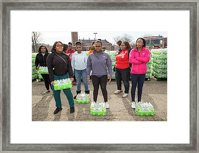 Flint Bottled Drinking Water Distribution Framed Print by Jim West