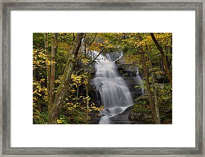 Forest Waterfall In Autumn Framed Print by Stephen  Vecchiotti