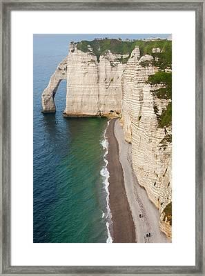France, Normandy, Etretat, Falaise De Framed Print by Walter Bibikow