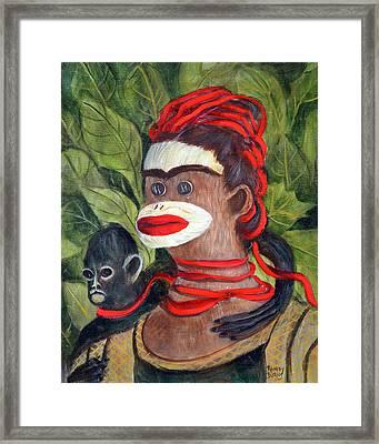 Frida Kahlo As A Sock Monkey Framed Print by Randy Burns