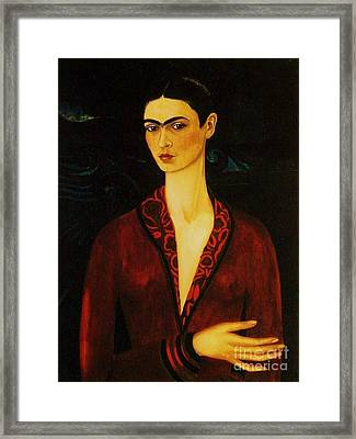 Frida Kahlo Self Portrait Framed Print by Pg Reproductions