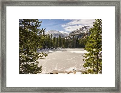 Frozen Nymph Lake - Rocky Mountain National Park Estes Park Colorado Framed Print by Brian Harig