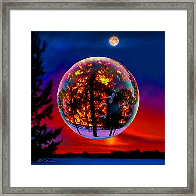 Full Moon Over New Richmond Sunset Framed Print by Robin Moline