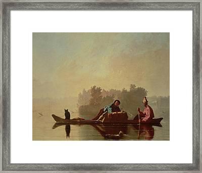 Fur Traders Descending The Missouri Framed Print by George Caleb Bingham