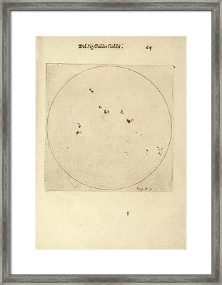 Galileo's Observation Of Sunspots Framed Print by Library Of Congress
