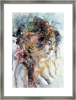 Girl In Gold Framed Print by Kovacs Anna Brigitta