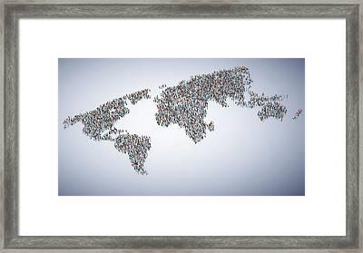 Global Population Framed Print by Andrzej Wojcicki