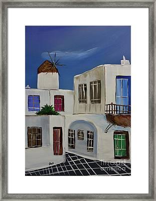 Greek Village Framed Print by Janice Rae Pariza