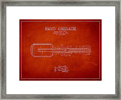 Hand Grenade Patent Drawing From 1916 Framed Print by Aged Pixel