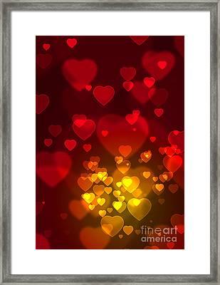 Hearts Background Framed Print by Carlos Caetano