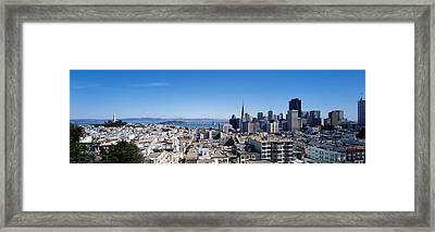 High Angle View Of A City, Coit Tower Framed Print by Panoramic Images