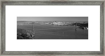 High Angle View Of A Suspension Bridge Framed Print by Panoramic Images