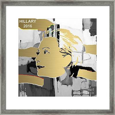 Hillary Clinton Gold Series Framed Print by Marvin Blaine