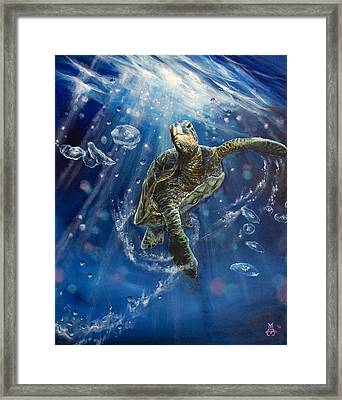 Honu's Dance Framed Print by Marco Antonio Aguilar