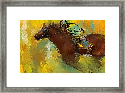 Horse Racing Abstract Framed Print by Lourry Legarde