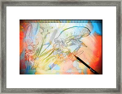2 Hummingbirds And Crown Of Thorns - Featured In Comfortable Art Group Framed Print by EricaMaxine  Price