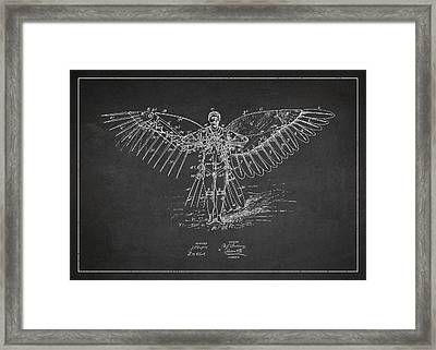 Icarus Flying Machine Patent Drawing Front View Framed Print by Aged Pixel