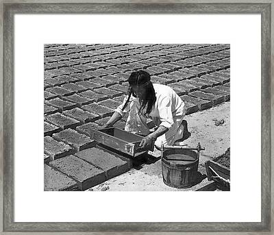 Indians Making Adobe Bricks Framed Print by Underwood Archives