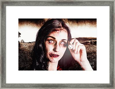 Infected Woman Searching Field During Zombie Apocalypse Framed Print by Jorgo Photography - Wall Art Gallery