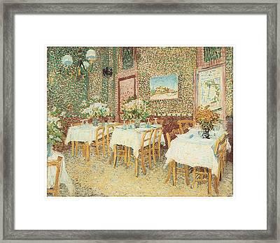 Interior Of A Restaurant Framed Print by Vincent Van Gogh