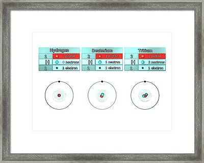 Isotopes Of Hydrogen Framed Print by Animate4.com/science Photo Libary