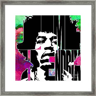 Jimi Hendrix Typography Framed Print by Marvin Blaine