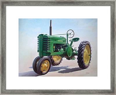 John Deere Tractor Framed Print by Hans Droog