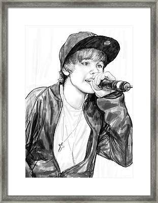 Justin Bieber Art Drawing Sketch Portrait Framed Print by Kim Wang