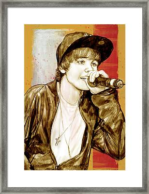 Justin Bieber - Stylised Drawing Art Poster Framed Print by Kim Wang