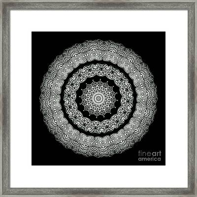 Kaleidoscope Ernst Haeckl Sea Life Series Black And White Set On Framed Print by Amy Cicconi