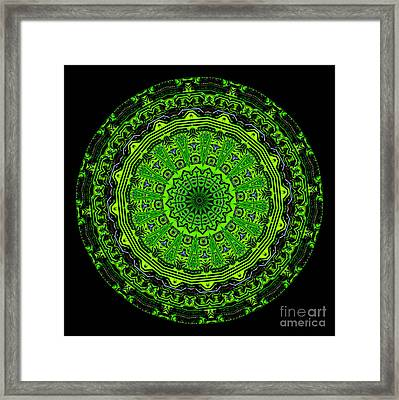 Kaleidoscope Of Glowing Circuit Board Framed Print by Amy Cicconi
