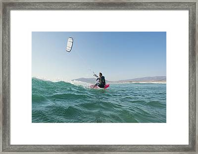 Kitesurfing Tarifa Cadiz Andalusia Spain Framed Print by Ben Welsh