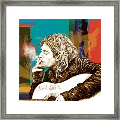 Kurt Cobain Stylised Pop Morden Art Drawing Sketch Portrait Framed Print by Kim Wang