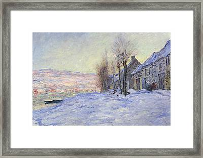 Lavacourt Under Snow Framed Print by Claude Monet