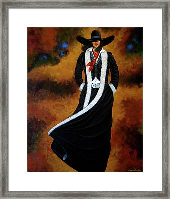 Leather And Fur Framed Print by Lance Headlee