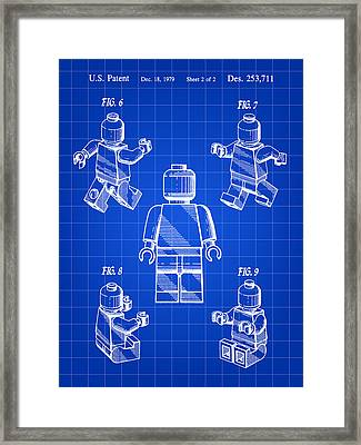 Lego Figure Patent 1979 - Blue Framed Print by Stephen Younts