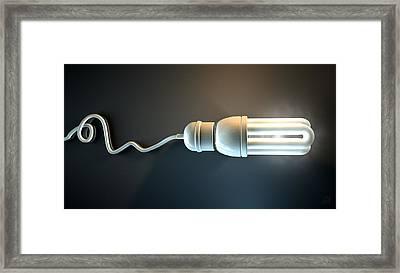 Light Bulb Dramatic  Framed Print by Allan Swart